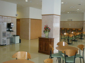 On the ground floor is a cafe, where the breakfast and the front desk